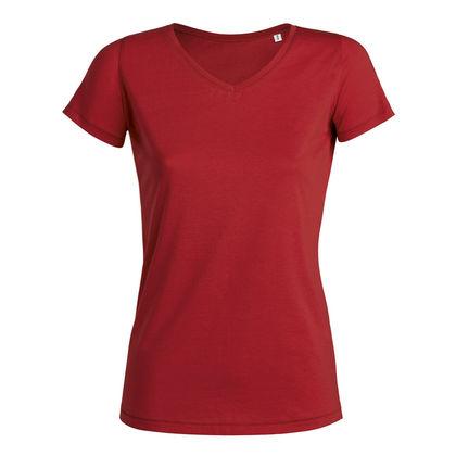 Дамска червена тениска с остро деколте С752