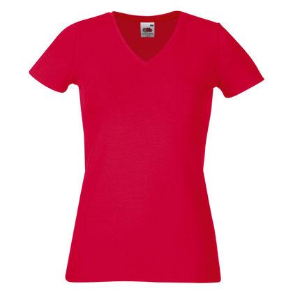 Дамска червена тениска от памук и ликра С368-1