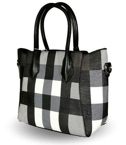 Дамска чанта черно и бяло Каре