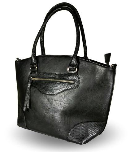 Кожена дамска чанта в черно Колорадо-2