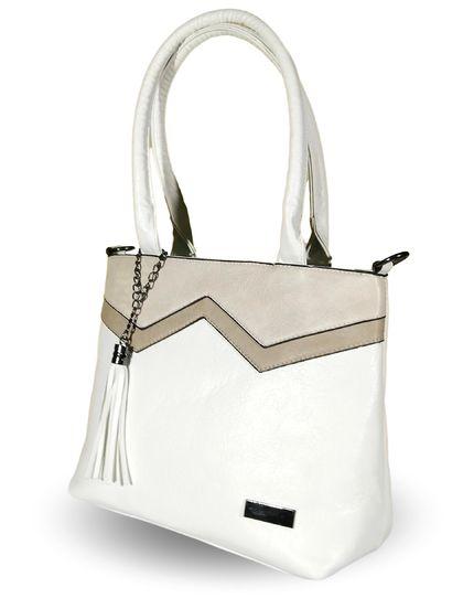 Практична дамска чанта в бяло Лина