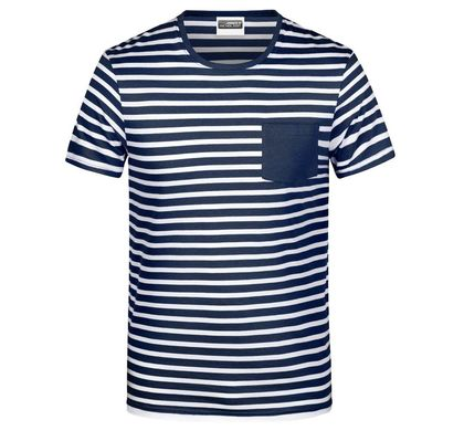 Раирана мъжка тениска с джоб В8028