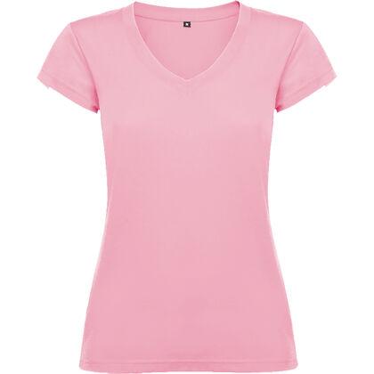 Розова дамска тениска с остро деколте С1244-6