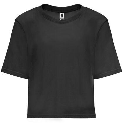Къса черна тениска за жени С1894-2