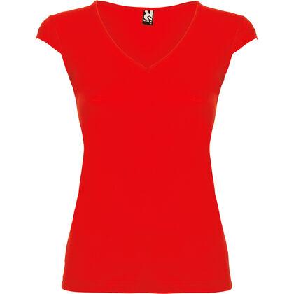 Червена дамска блуза с V-образно деколте С625-4