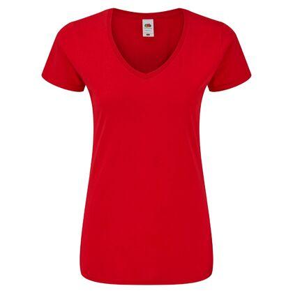 Дамска червена тениска с остро деколте С2008-3