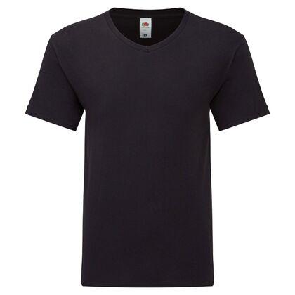 Мъжка черна тениска с остро деколте С2009-2